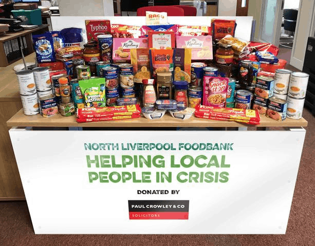 A selection of the food donated to the North Liverpool Foodbank by the directors and staff of Paul Crowley & Co